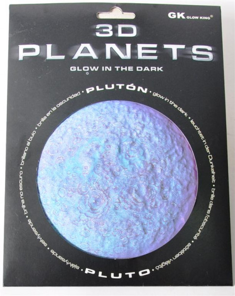3D Bild Planet Pluto, glow in the dark AK, D:ca.12 cm