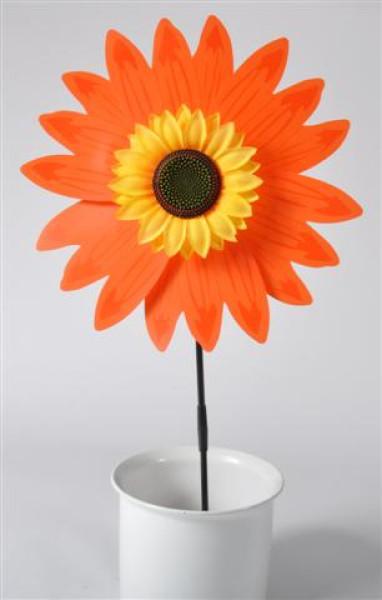 Windrad Sonnenblume farbl.sort. OPP, D:ca.36 cm, Stab ca.75 cm