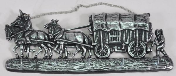 """Schlüsselbrett """"Pferde m. Kutsche"""" ca. 32x13 cm"""