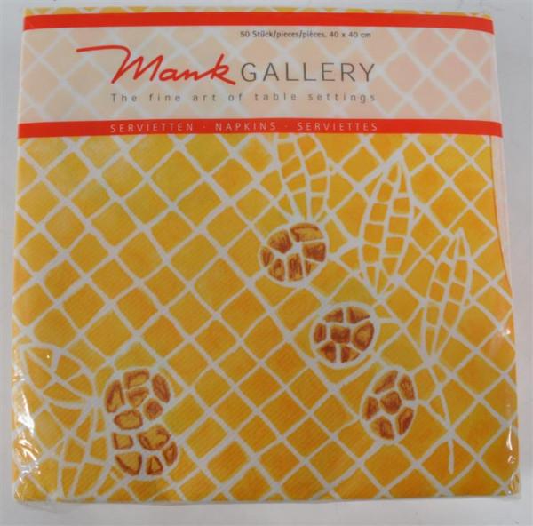 Servietten gelb m.Mosaik 40x40 cm 50 Stück/Pack