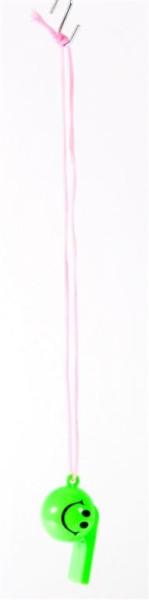 Pfeife Smile 5 Farb sort m.Schnur OPP, ca. 5x3 cm