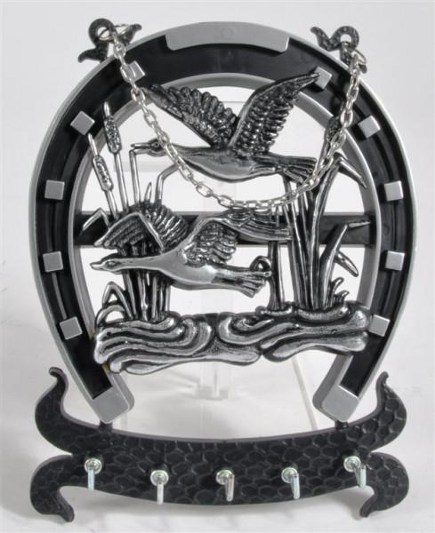 Schlüsselbrett Hufeisen m. Vogelmotiv ca. 20,5x16 cm