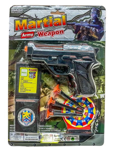 Polizei Set m. Pistole u. 3 Saugnapf Pfeilen AK ca. 31x21cm