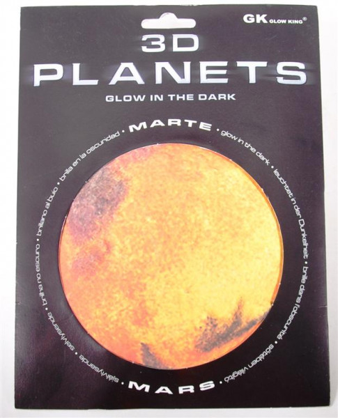 3D Bild Planet Mars, glow in the dark AK, D: ca.12 cm