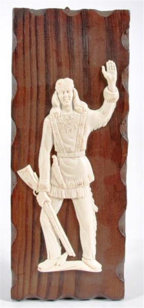 Holzbild m. Indianermotiv ca. 26,5x10 cm