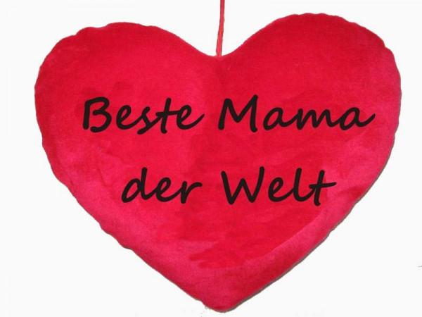 Herzkissen Beste Mama der Welt PB, ca. 25 cm