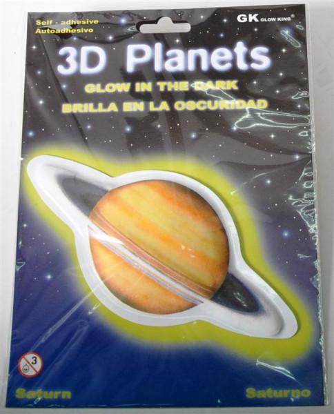 3D Bild Pl. Saturn, glow in the dark AK, D: ca. 12 cm