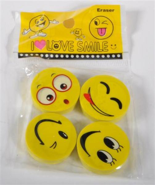 Radiergummi Smile 4er Set DIS ca. D:2,5 cm
