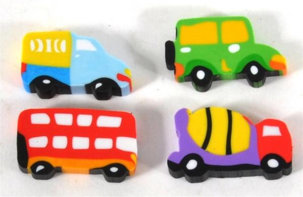 Radiergummi Fahrzeuge 4er Set sort. DIS. ca. 2x3,5 cm