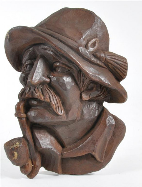 "Holzbild ""Mann mit Pfeife"" ca. 23x16 cm"