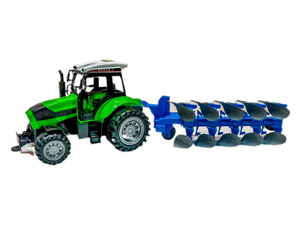 Traktor m. Pflug PVC Box ca. 55x15x16 cm