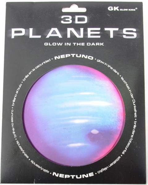 3D Bild Planet Neptun, glow in the dark AK, D.ca.12 cm