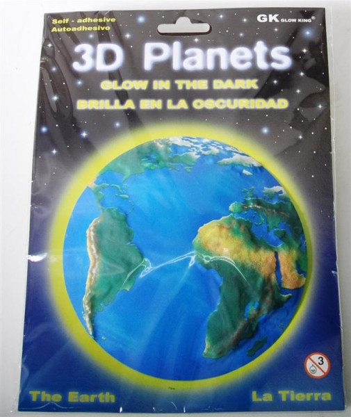 3D Bild Planet Erde, glow in the dark AK, D: ca.12 cm