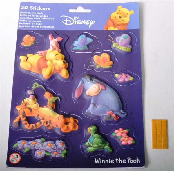 "Sticker 3D ""Winnie Pooh"" AK ca. 22x16cm glow in the dark"