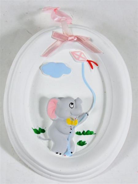 Tonbild weiß mit Elefantenmotiv GK, ca. 16x13 cm
