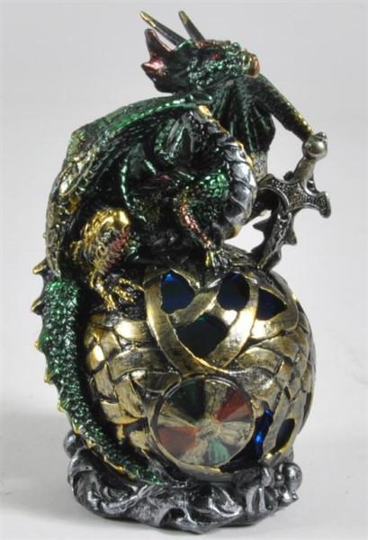 Drachen bunt auf Kugel mit Licht BB ca. 9,5x8,5x14,5cm