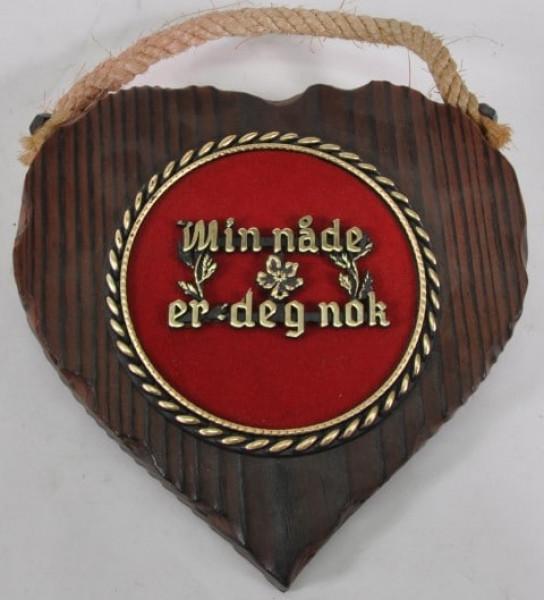 Holzbild Herz mit norweg.Spruch ca. 17x17 cm