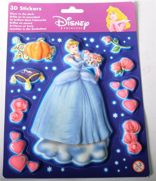 "Sticker 3D ""Princess"" sort. AK ca. 22x16cm glow in the dark"