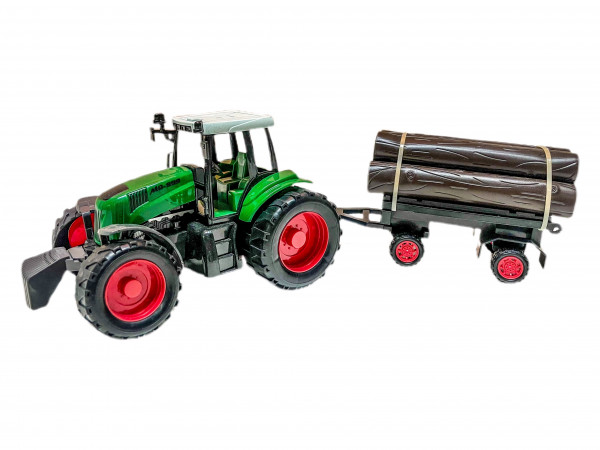 Traktor m. Holzanhänger WB, ca. 40x12x11 cm