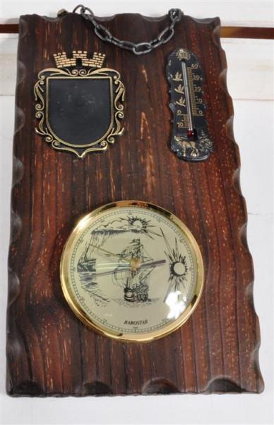 Holzbild m. Thermometer u. Barostar ca. 30x17,5 cm