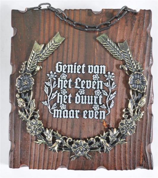 Holzbild mit niederländ. Spruch ca. 20x18cm
