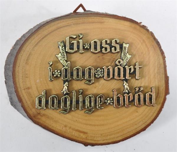Holzbild mit Spruch norwegisch D: ca. 13 cm