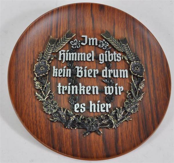 """Wandteller """"Holzdesign"""" mit Spruch ca. 23cm D"""