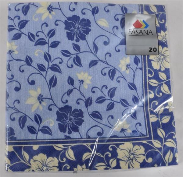 Servietten blau gemustert 40x40 cm 20 Stück/Pack