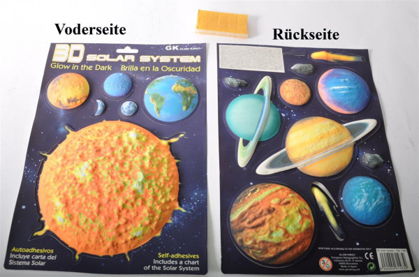 "3D Bild ""Planeten"" glow in the dark AK ca. 34x24cm"