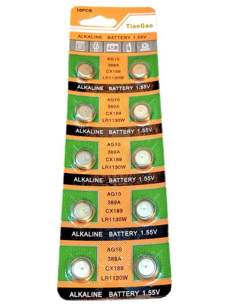 Batterie Knopfzelle 10er Set AG10, 389A, CX189, LR1130W, LR54 BC