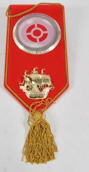 Bild rot mit Schiff u.Quaste ca. 22x11 cm