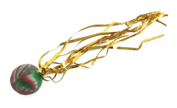 Dopsball 25 m. Glitzerband, farbl.sort. OPP, ca. 24 cm lang 2,5cm D