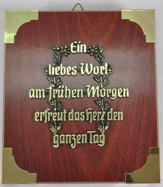 """Holzbild """"Ein liebes Wort am frühen.."""" ca. 19x17 cm"""