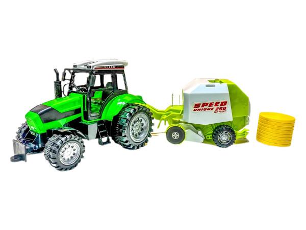 Traktor m. Rundballenpresse PVC Box ca. 55x15x16 cm