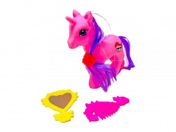 Pony mit Spiegel und Kamm OPP, ca.11x3x12cm